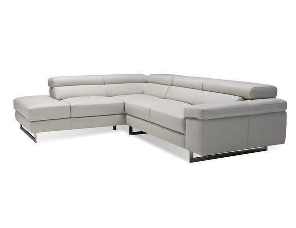 Mobital Syncro Titanium Grey Grain Leather Sectional with LSF Chaise MBT-SELSYNCTITA