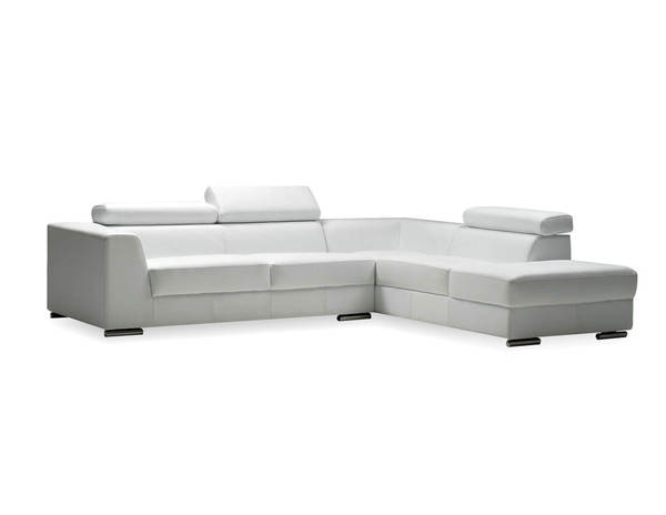 Mobital Icon White Grain Leather Sectional with RSF Chaise MBT-SERICONWHITPREMI