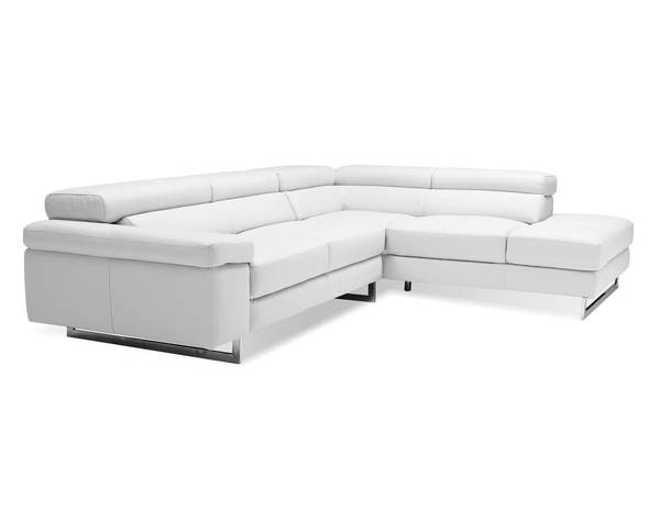 Mobital Syncro White Grain Leather Sectional with RSF Chaise MBT-SERSYNCPUWH