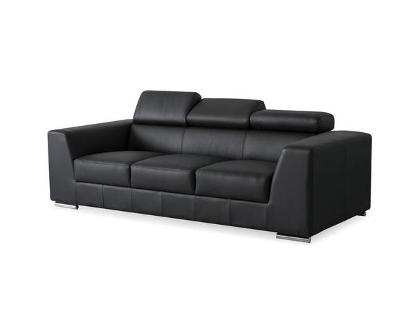 Mobital Icon Black Grain Leather Stainless Steel Sofa MBT-SOFICONBLACPREMI