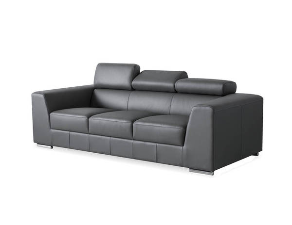 Mobital Icon Dark Grey Grain Leather Stainless Steel Sofa MBT-SOFICONDGREPREMI