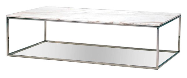 Mobital Kube Marble Stainless Steel Rectangle Coffee Table MBT-WCOKUBEMARBR18MM
