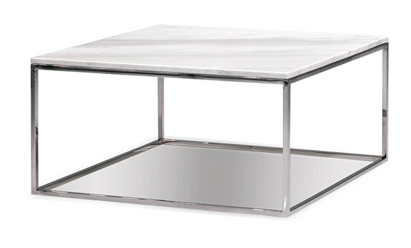 Mobital Kube Marble Stainless Steel Square Coffee Table MBT-WCOKUBEMARBS18MM