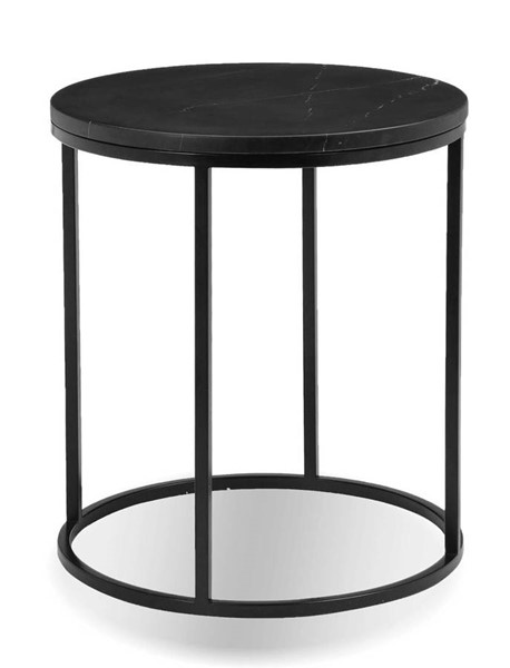 Mobital Onix Black Marble Round End Table MBT-WENONIXBLACROUND