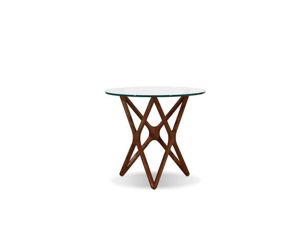 Mobital Quasar Light Walnut Clear Tempered Glass End Table MBT-WENQUASASHWLOW9