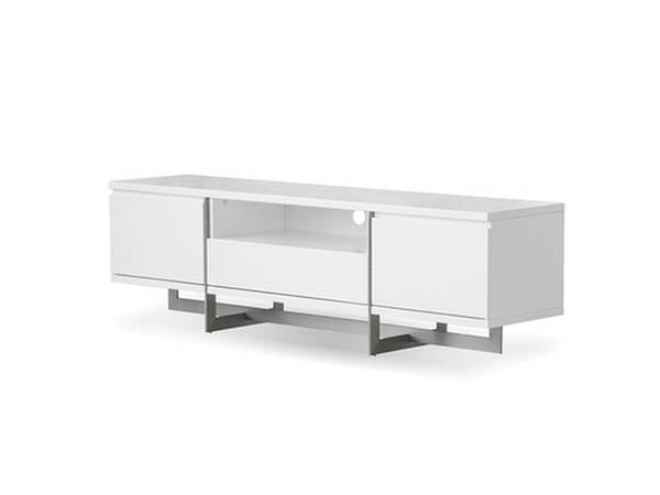 Mobital Remi White Gloss PU Stainless Steel TV Unit MBT-WTVREMIWHIT