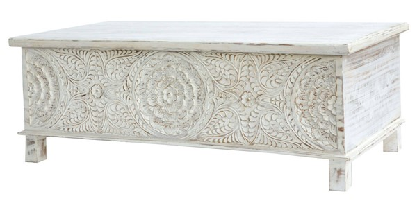 Modarte Anglo White Hand Carved Trunk MDRT-AT01-101