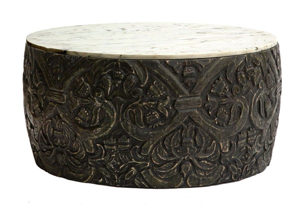 Modarte Ethos Black White Marble Top Carved Round Coffee Table MDRT-ET01-109
