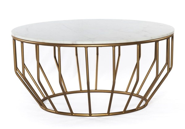Modarte Golden White Marble Top Coffee Tables MDRT-GD01-1-CT-VAR