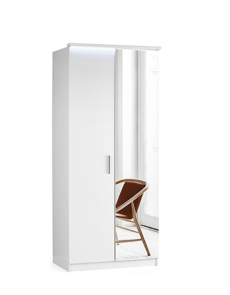 Modarte Roma Gloss White LED Two Doors Wardrobe Cabinet MDRT-RM21-35-M2D-101