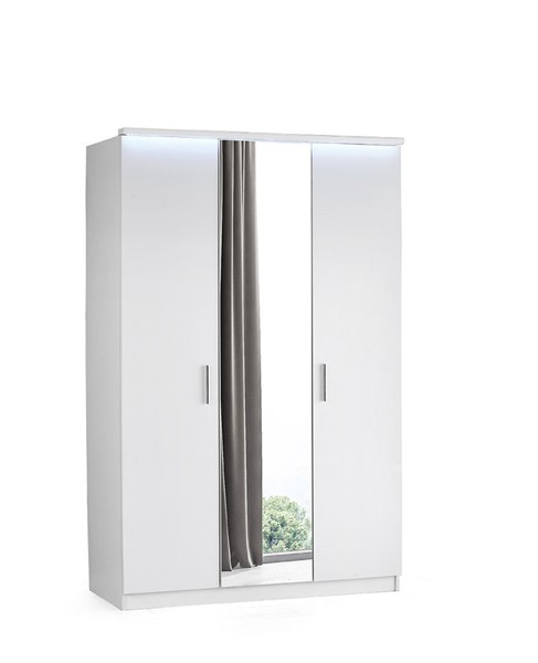 Modarte Roma Gloss White LED Three Doors Wardrobe Cabinet MDRT-RM21-53-M2D-101