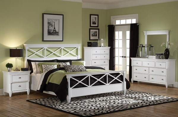 Kasey Casual White MDF Wood 2pc Bedroom Set W/Queen Panel Bed MG-B2026-S1