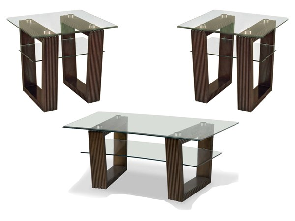 Cordoba Modern Coffee Wood Glass 3pc Rectangular Coffee Table Set MG-27700-S