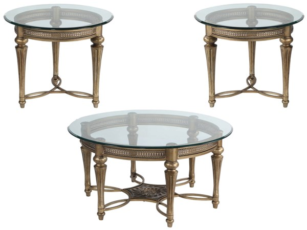 Galloway Traditional Subtle Gold Glass 3pc Round Coffee Table Set MG-37500-S