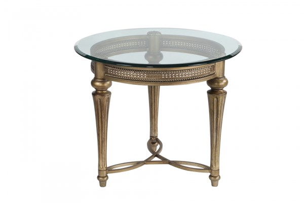 Galloway Traditional Subtle Gold Glass Round End Table Glass Top MG-37504T