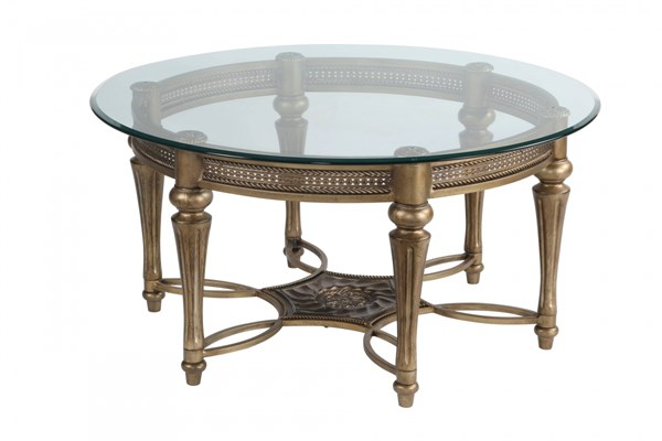 Galloway Traditional Subtle Gold Glass Cast Resin Round Cocktail Table MG-37506