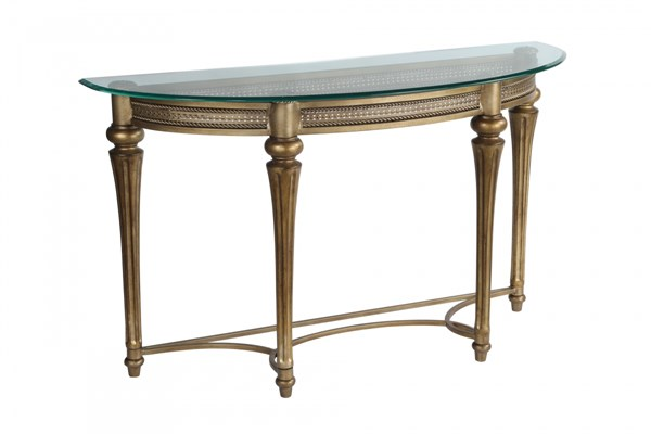 Galloway Traditional Subtle Gold Glass Cast Resin Sofa Table MG-37515