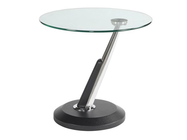 Modesto Casual Synthetic Black Metal Glass Round End Table MG-38004