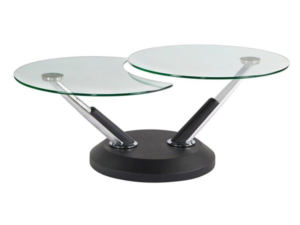 Modesto Casual Synthetic Metal Glass Swivel Cocktail Table MG-38006