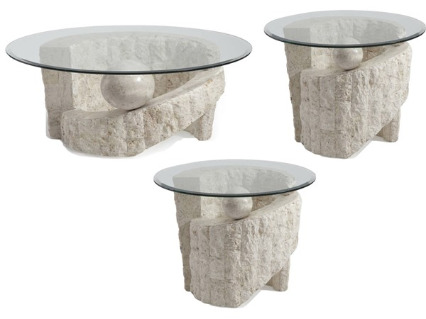 Ponte Vedra Opulence Natural Stone Glass 3pc Round Coffee Table Set MG-58500-S
