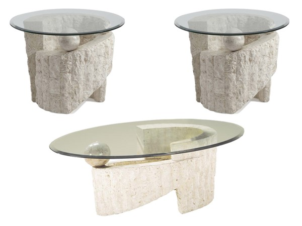 Ponte Vedra Opulence Natural Stone Glass 3pc Oval Coffee Table Set MG-58500-S1