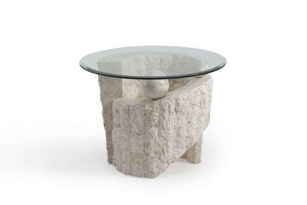 Ponte Vedra Opulence Natural Stone Fossil Round End Base MG-58504B