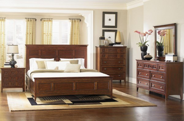 Harrison Classic Cherry Wood 2pc Bedroom Set W King Panel Bed MG-B1398-S3