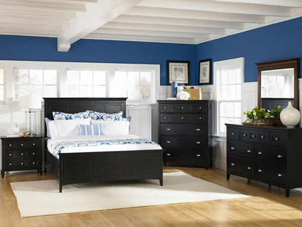 Southampton Casual Black Wood MDF 2pc Bedroom Set W/King Panel Bed MG-B1399-S3