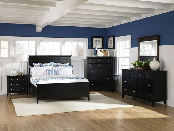Southampton Casual Black Wood MDF 2pc Bedroom Set W/Queen Storage Bed MG-B1399-S2