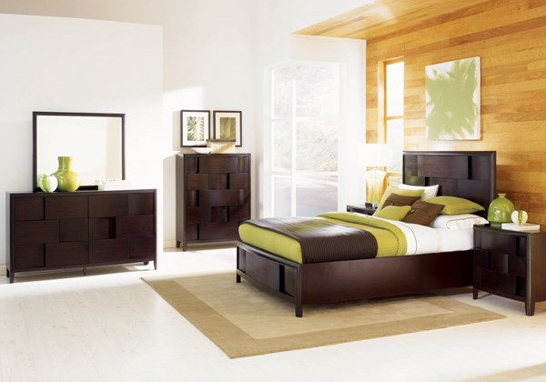 Nova Casual Chestnut Wood 2pc Bedroom Set W/King Island Bed MG-B1428-S3