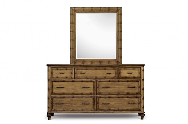 Palm Bay Casual Toffee Wood Glass Seven Drawer Dresser & Mirror MG-B1469-DM