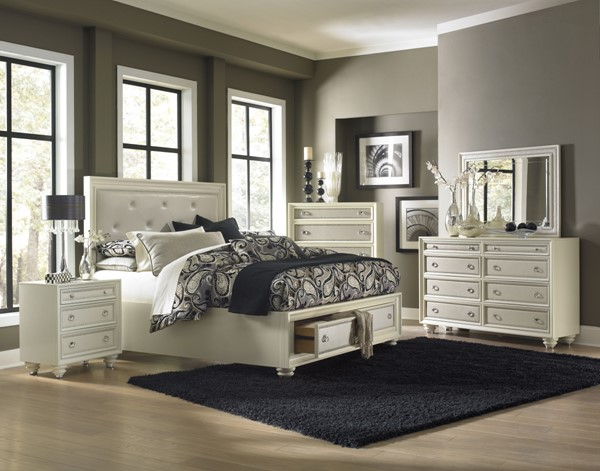 Diamond Gloss White Wood 2pc Bedroom Set W/Queen Island Storage Bed MG-B2344-S2