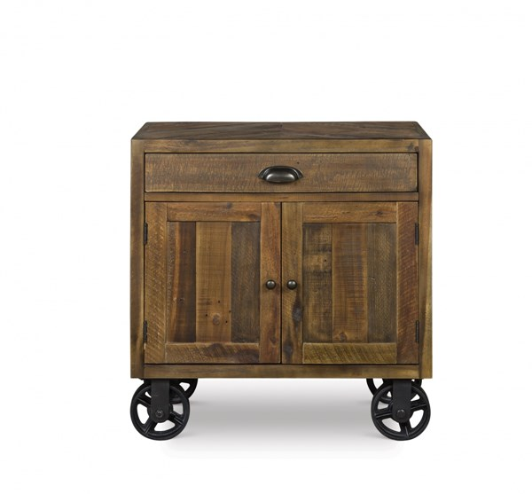 River Road Transitional Distressed Natural Door Nightstand w/Casters MG-B2375-03