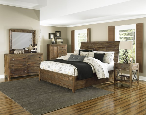 River Road Natural Wood Glass 2pc Bedroom Set W/Cal King Bed MG-B2375-BR-S3