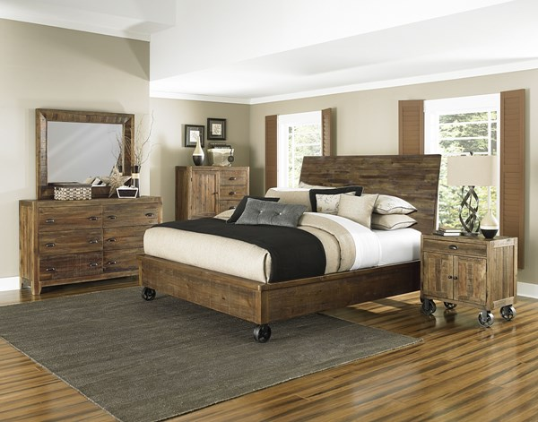 River Road Natural Wood Glass 2pc Bedroom Set W/Caster Cal King Bed MG-B2375-BR-S6