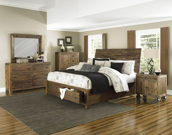 River Road Natural Wood 2pc Bedroom Set W/King Footboard Storage Bed MG-B2375-BR-S8