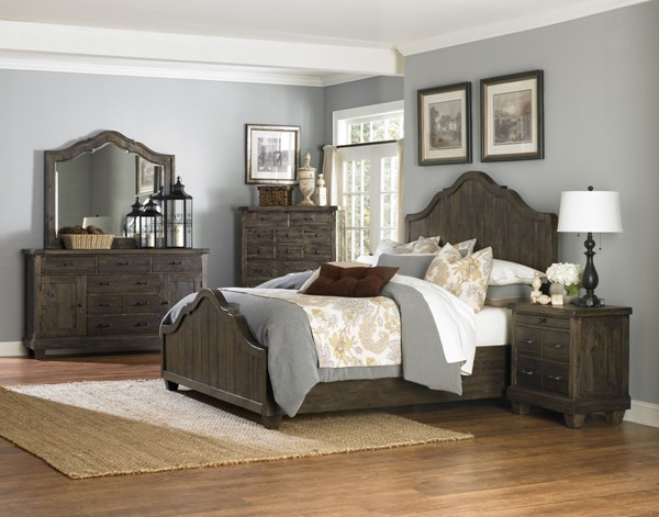 Brenley Natural Umber Wood Glass 2pc Bedroom Set W/Queen Bed MG-B2524-BR-S1