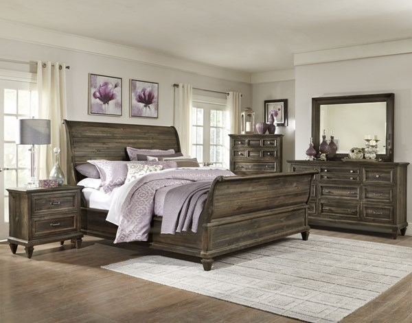 Calistoga Charcoal Wood Glass 2pc Bedroom Set W/Cal King Sleigh Bed MG-B2590-BR-S6