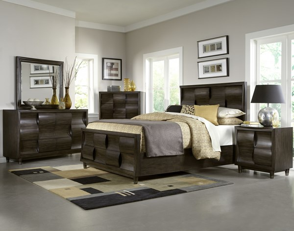 Noma Modern Graphite Wood Glass 5pc Bedroom Sets MG-B2640-BR-S