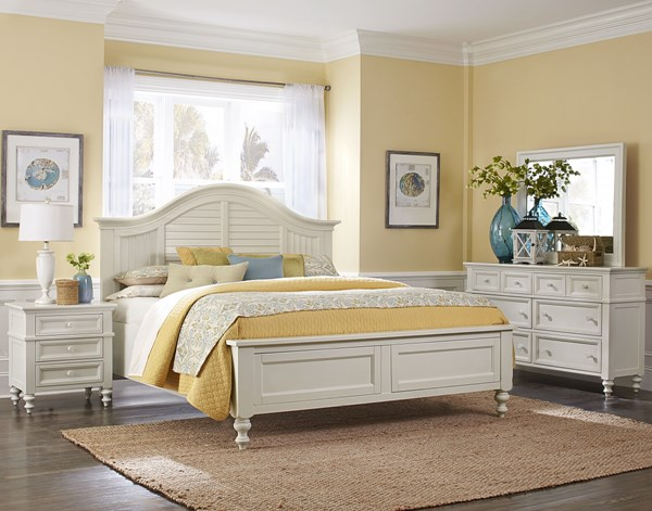 Cape Maye Cottage Pristine White Wood 5pc Bedroom Sets MG-B2819-CBR-S