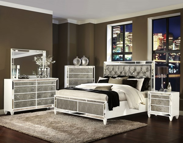 Monroe Opulence Pearlizzed White Wood Glass 2pc Bedroom Set W/King Bed MG-B2935-BR-S2