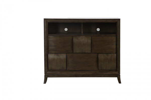 Ribbons Modern Coffee Wood Finger Pull Media Chest MG-B3032-36