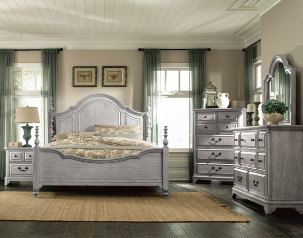 Windsor Lane Weathered Grey Wood Glass 2pc Bedroom Set W/Queen Bed MG-B3341-BR-S1
