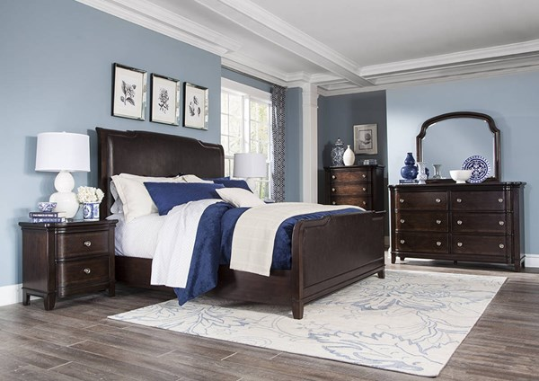 Langham Place Chestnut Walnut Wood 5pc Bedroom Set w/King Sleigh Bed MG-B3532-BR-S4