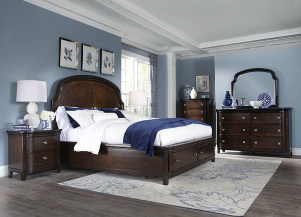 Langham Place Warm Chestnut Walnut Wood 5pc Bedroom Set w/Panel Beds MG-B3532-BR-S-VAR2