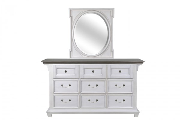 Hampton Bay Cottage White Antique Grey MDF Wood Glass Dresser & Mirror MG-B3557-DRMR