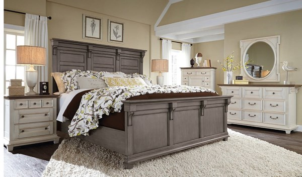 Hampton Bay Cottage Grey MDF Wood 5pc Bedroom Set W/Cal King Bed MG-B3557-BR-S3