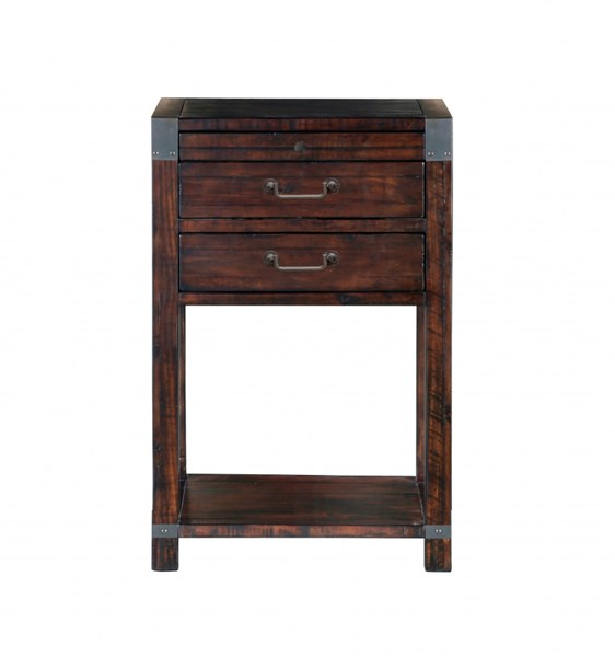 Pine Hill Transitional Rustic Pine Wood Open Nightstand MG-B3561-05