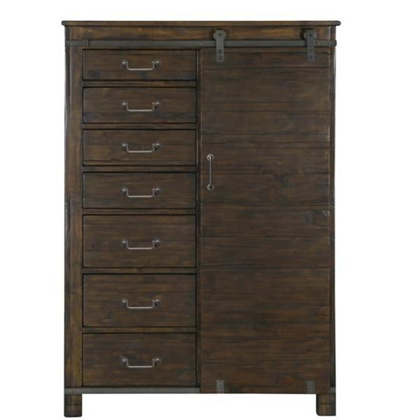 Pine Hill Transitional Rustic Pine Wood Door Chest MG-B3561-13