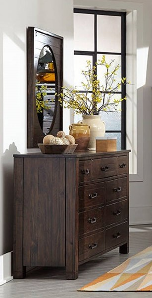 Magnussen Home Pine Hill Wood Drawer Dresser and Oval Mirror MG-B3561-20-43